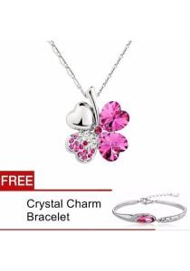 TEEMI Clover Flower Crystal Pendant Necklace FREE Bracelet