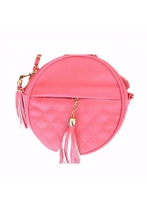 TEEMI Stone Round Quilted Mini Metal Chain Sling Bag Tassel PU Faux Leather
