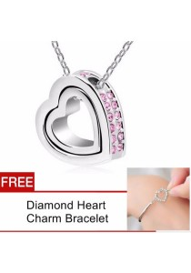 TEEMI Double Love Heart Diamond Rhinestone Pendant Necklace FREE Bracelet