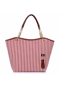 TEEMI Casual Stripe Nautical Canvas Metal Chain Handle Shoulder Bag Handbag Tote Bag