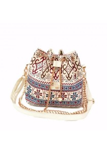 TEEMI Tribal Art Boho Ethnic 2-way Bucket Bag Metal Chain Vintage Canvas Pearl Crossbody Shoulder Tote