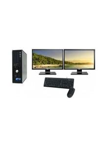 "(Refurbished) Dell Optiplex 760 (SFF) Desktop PC + Dual 17"" LCD monitor w/ Graphics Card + 4GB DDR3 RAM + Extended Warranty - 1 Year"
