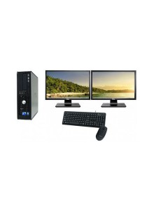 "(Refurbished) Dell Optiplex 760 (SFF) Desktop PC + Dual 17"" LCD monitor w/ Graphics Card + 4GB DDR3 RAM + Extended Warranty - 2 Years"