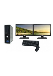 "(Refurbished) Dell Optiplex 760 (SFF) Desktop PC + Dual 19"" LCD monitor w/ Graphics Card + 4GB DDR3 RAM + Extended Warranty - 1 Year"