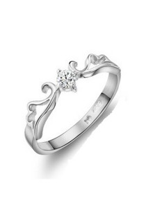 Vivere Rosse Tiara of Dreams 18K White Gold Plated Ring TOD
