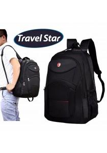 Travel Star 056 Premium Double Strap Nylon Laptop Backpack (Black)
