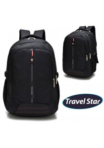 Travel Star 9917 Premium Double Strap Laptop Backpack- Black