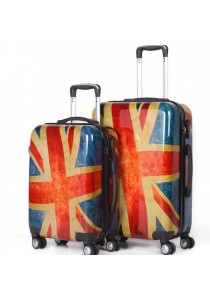 Travel Star Classic Flag Design Ultralight Weight PC Luggage 2-in-1 Set (Free Passport Holder)