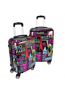 Travel Star Ultralight Weight Luggage 2 in1 Set (20 Inch+24 Inch) Colourful World