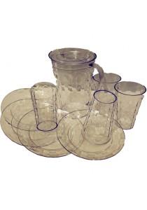 Tupperware Prism Set - Full Set - Plate (4), Tumbler (4), Jug (1) - Full Set