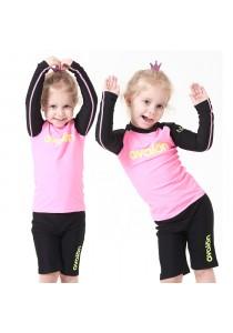 Avalon Rash Guard Swimwear (Neon Pink, Two-Pieces)
