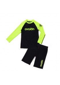 Avalon Rash Guard Swimwear (Neon Lime, Two-Piece)