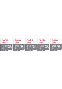 Sandisk 64GB Ultra microSDHC (SDSQUNB-064G-GN3MN-5U) -  5 Units