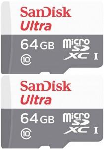 Sandisk 64GB Ultra microSDHC (SDSQUNB-064G-GN3MN-2U) - 2 Units