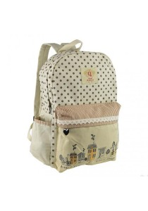 Royal McQueen Korean Stylish Casual Backpack QBP644 Beige