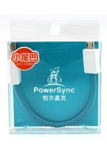 Powersync USB2-ERMIB0156 USB2.0 Am to Micro B Soft Round Cable 15cm (Blue)