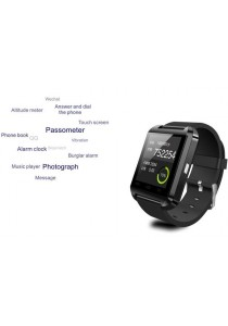 WU8 Bluetooth Smart Watch Touch Screen for Android and iOS (Black)