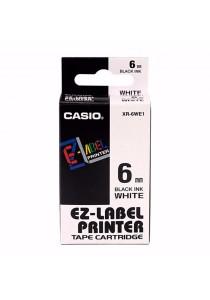 Casio EZ-Label Printer Tape Cartridge 6mm White -XR-6WE1