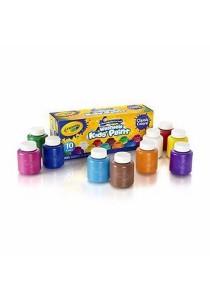 Crayola Washable Kids Paint 54-1205 2 FL OZ (59ml) Classic Colors (10 Colors)