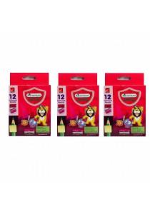 MasterArt Premium Grade Coloured Pencils (Half Length) 12 Colours (Set of 3)-108502