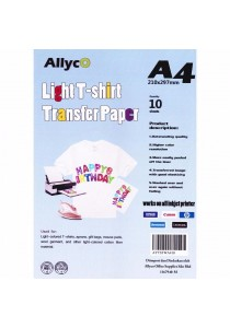 Allyco A4 T-Shirt Transfer Paper - 10 Sheets for Light Color T-Shirt