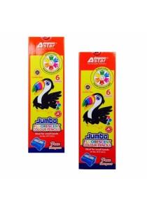 Astar Jumbo Fluorescent 6 Colours Pencils (JFCP-6016) - (Set of 2)