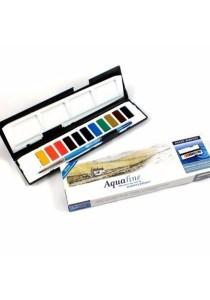 Daler Rowney Aquafine Watercolor Whole Pan Set 131900888 (12 Colors)