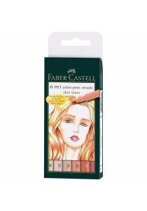 Faber-Castell PITT Artist Brush Pens, Skin Tones 6-Pack