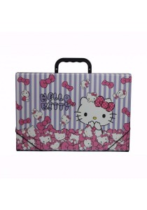 Campap Document Case Hello Kitty Striped Purple & White - HK29982A