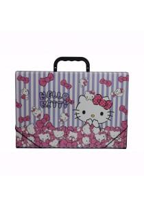 Campap Document Case Hello Kitty Striped Purple & White - HK29982A