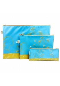 Fancy Document Bag (Size A4, A5, A6) Blue-Set of 3