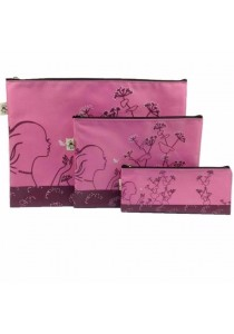 Fancy Document Bag (Size A4,A5,A6) Pink-Set of 3