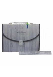 Kobest A4 Expanding File Wooden Design Grey 13s - F8330