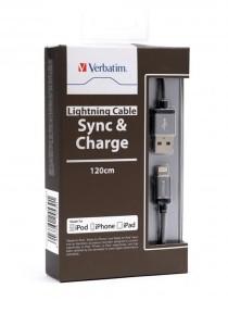 Verbatim 120cm Metallic Lightning Cable (Black)
