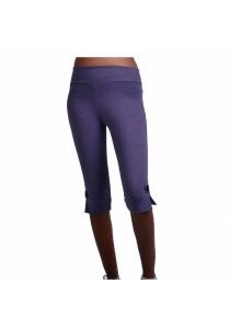 VIQ Hem Button Tight Fit 3/4 Pants (Highlight Grape) - New Collection - Fashion Sports Legging - Ladies 3/4 Long Pants