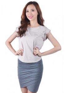VIQ Pleated Sleeve Top (Light Grey)