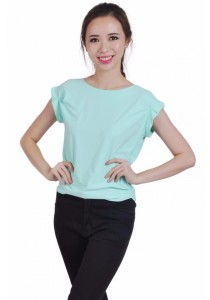 VIQ Pleated Sleeve Top (Mint)