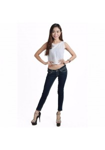 VIQ Sleeveless Woven Lace Top (White)