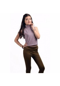 VIQ Skivvy Cropped Top (Black Stripe)