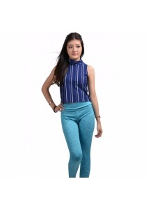 VIQ Skivvy Cropped Top (Blue Stripe)