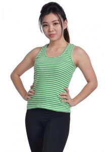 VIQ Ladies Singlet (Green Stripe) - Fashion Top - Sports Wear - Ladies Singlet