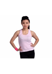 VIQ Ladies Singlet (Pink Stripe) - Fashion Top - Sports Wear - Ladies Singlet