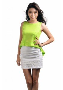VIQ Inspired Tuxedo Fashion Top (Light Green)