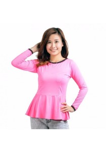 VIQ Long Sleeve Peplum Top (Pink) - Fashion Casual Wear - Blouse