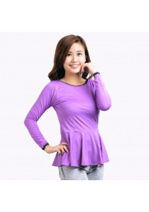 VIQ Long Sleeve Peplum Top (Purple) - Fashion Casual Wear - Blouse