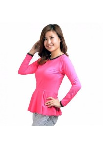 VIQ Long Sleeve Peplum Top (Rose) - Fashion Casual Wear - Blouse