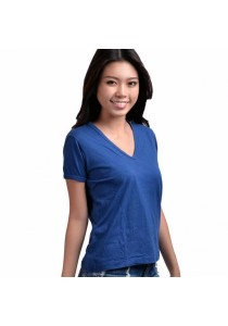 VIQ Plain Color V Neck Unisex Tee (100% Cotton) (Dark Blue) - Couple T-Shirt - Fashion Causal Wear