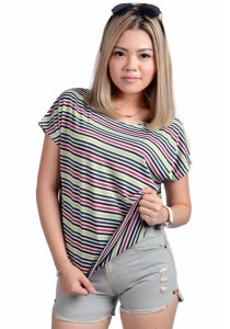 VIQ Oversize Stripes Blouse (Green Stripe)