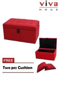 Harmony Storage Ottoman - Red