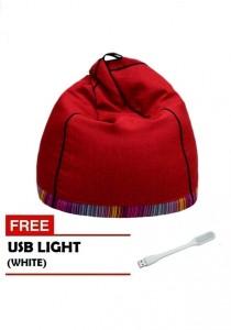 VIVA HOUZ - PYRAMID Bean Bag/Sofa (XL Size) - Berry Red with White USB Light